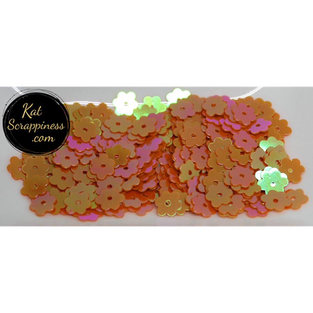 6mm Orange AB Flat Flower Sequins Shaker Card Fillers - Kat Scrappiness