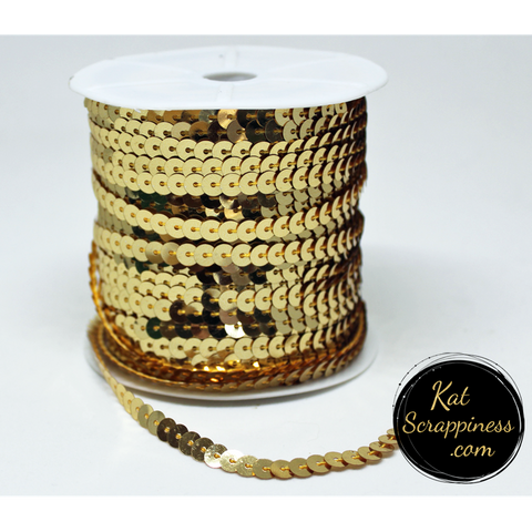 Gold Sequin Trim - 5 Feet - Kat Scrappiness