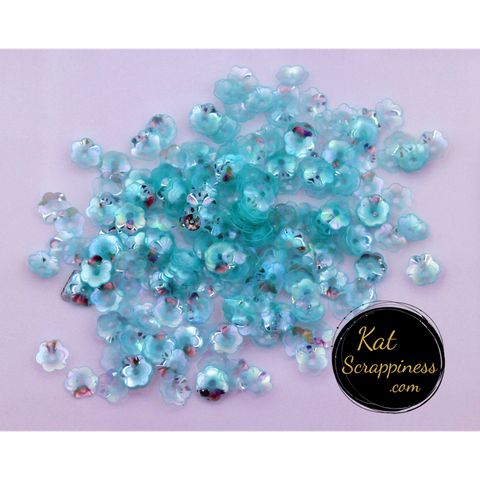 6mm Translucent Mint Flower Blossom Sequins - Shaker Card Fillers - Kat Scrappiness