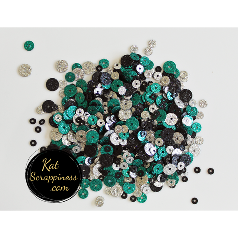 Breakfast at Tiffany's Sequin Mix - Glitter Sequin Shaker Card Fillers - NEW! - Kat Scrappiness