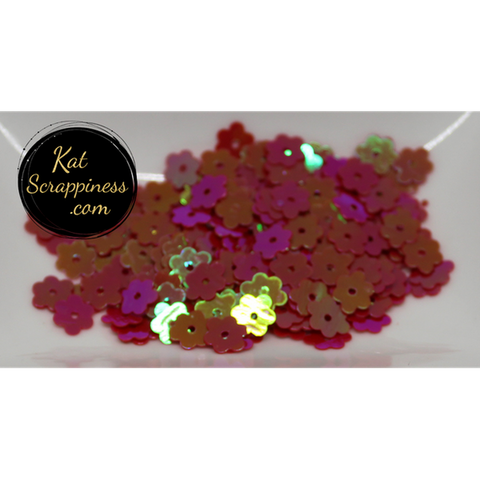 6mm Magenta AB Flat Flower Sequins Shaker Card Fillers - Kat Scrappiness