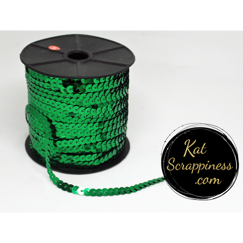 Green Sequin Trim - 5 Feet - Kat Scrappiness