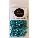 Teal Flower Blossom Sequins Shaker Card Fillers - Kat Scrappiness