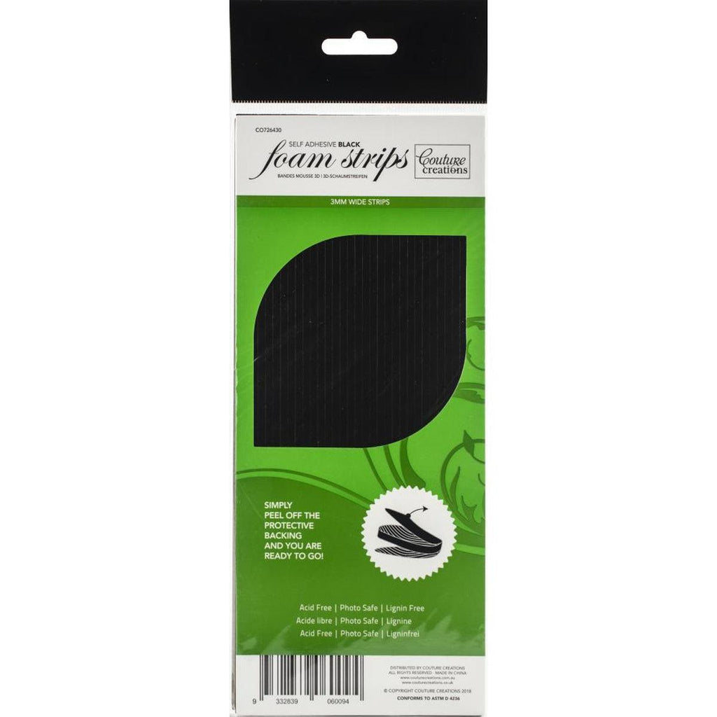3D Foam Strips BLACK by Couture Creations - Shaker Card Adhesive Strips