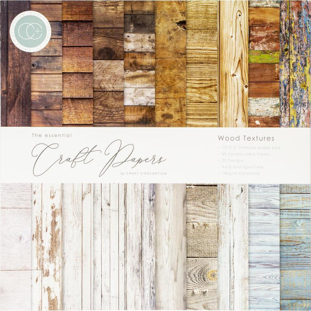"Craft Consortium Double-Sided Paper Pad 12""X12"" 30/Pkg Wood Textures, 20 Designs"