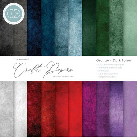 "Craft Consortium Double-Sided Paper Pad 6""X6"" 40/Pkg - Grunge-Dark Tones - Kat Scrappiness"