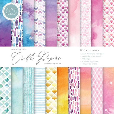 "Craft Consortium Double-Sided Paper Pad 6""X6"" 40/Pkg - Watercolors"