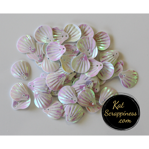 Pearlescent White Seashell Sequins by Kat Scrappiness - Kat Scrappiness