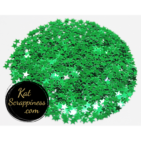 4mm Metallic Green Star Confetti Sequins - Shaker Card Fillers - NEW! - Kat Scrappiness