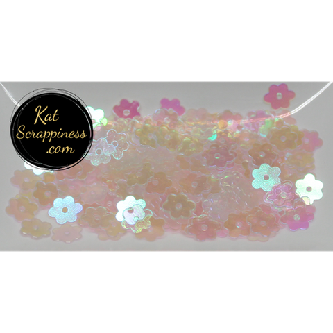 6mm Clear Flat Flower Sequins - Kat Scrappiness