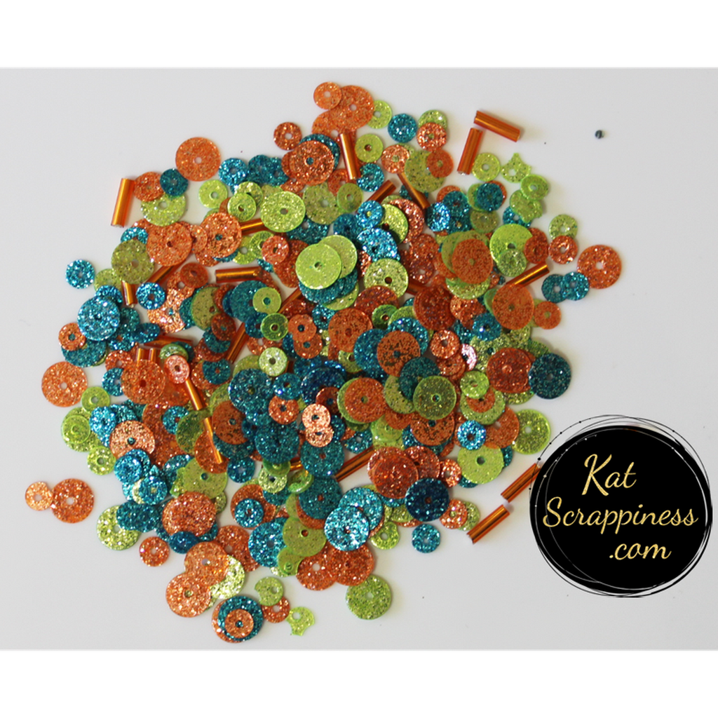 Sea Coral Sequin Mix - Glitter Sequins - Kat Scrappiness