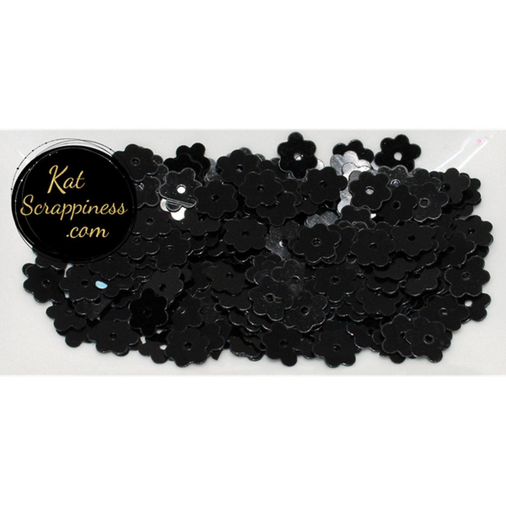 6mm Black Flat Flower Sequins Shaker Card Fillers - Kat Scrappiness