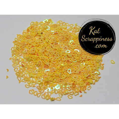 Yellow (Hollow) Heart Confetti Mix - Kat Scrappiness