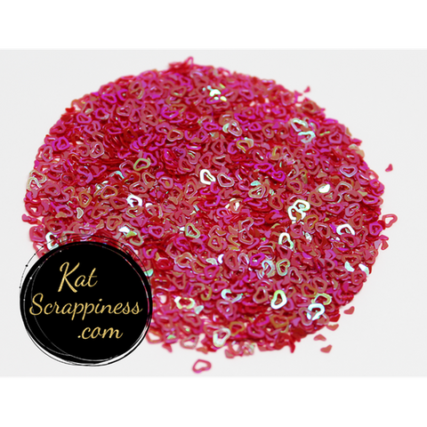 Red AB (Hollow) Heart Confetti Mix - Kat Scrappiness