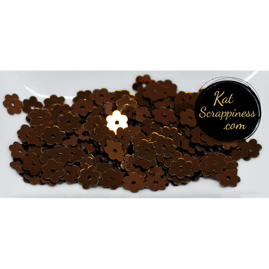 6mm Espresso Brown Flat Flower Sequins Shaker Card Fillers - Kat Scrappiness