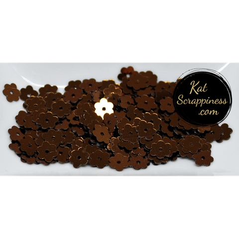 6mm Espresso Brown Flat Flower Sequins Shaker Card Fillers - NEW! - Kat Scrappiness