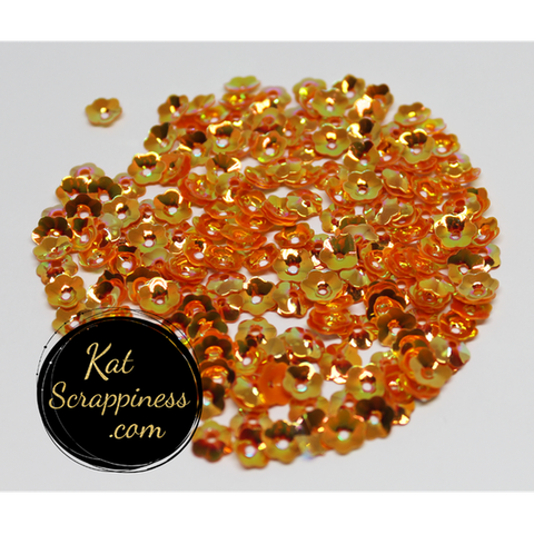 6mm Orange Flower Blossom Sequins Shaker Card Fillers - Kat Scrappiness