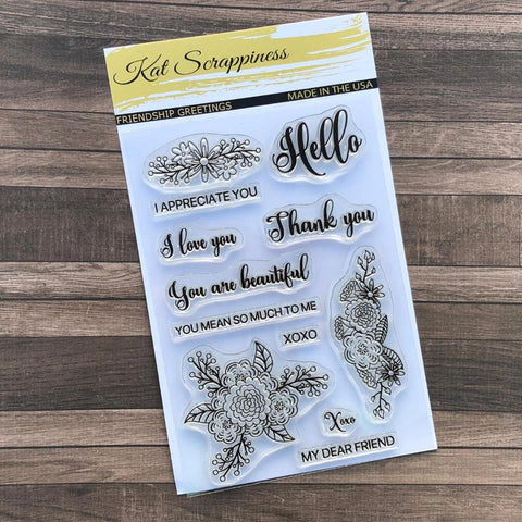 """Friendship Greetings"" Stamp Set by Kat Scrappiness"