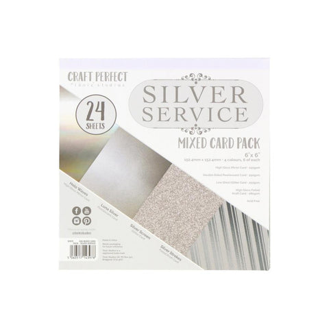 "Craft Perfect Mixed Card Pack 6""X6"" 24/Pkg - Silver Service"