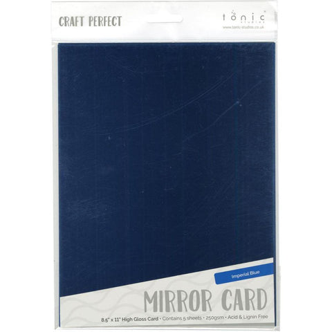 "Tonic Studios Mirror Glossy Cardstock 8.5""X11"" 5/Pkg - Imperial Blue"