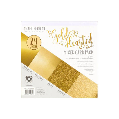 "Craft Perfect Mixed Card Pack 6""X6"" 24/Pkg - Gold Hearted"