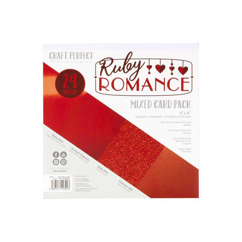 "Craft Perfect Mixed Card Pack 6""X6"" 24/Pkg Ruby Romance"
