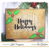 """Happy Holidays"" Brush Script Word & Sentiment Die by Kat Scrappiness - Kat Scrappiness"