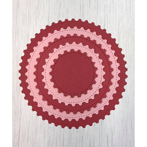 Stitched Postage Stamp Edge Circle Dies by Kat Scrappiness