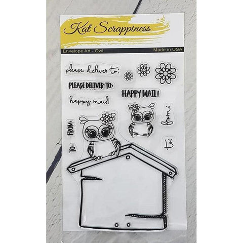 Owl Envelope Art Stamp Set by Kat Scrappiness