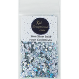 3mm Silver Solid Heart Confetti Mix - Shaker Card Fillers - Kat Scrappiness