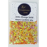 3mm Orange Solid Heart Confetti Mix - Shaker Card Fillers