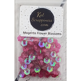 6mm (Translucent) Magenta Flower Blossom Sequins - Kat Scrappiness