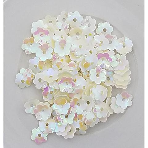 6mm Ivory Flower Blossom Sequins - Shaker Card Fillers