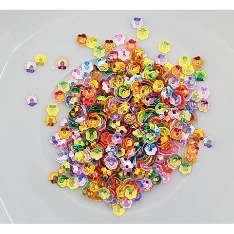 4mm Rainbow Flower Blossom Sequins - Shaker Card Fillers - Kat Scrappiness