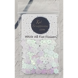 6mm White AB Flat Flower Sequins - Kat Scrappiness