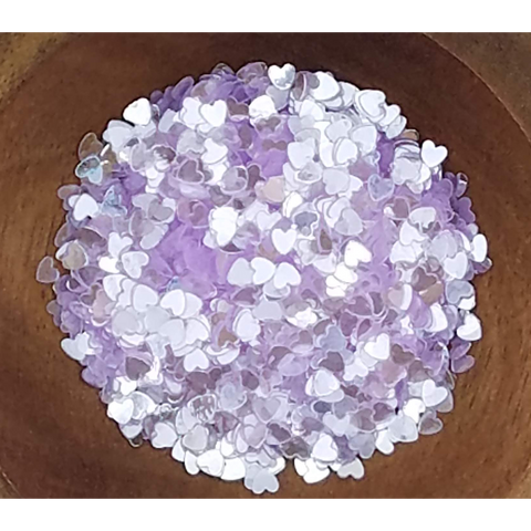 3mm Transparent Lilac Solid Heart Confetti - Sequins - Kat Scrappiness