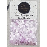 4mm Transparent Lilac Solid Heart Confetti - Sequins - Shaker Card Fillers - Kat Scrappiness
