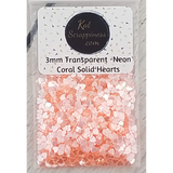 3mm Transparent Neon Coral Solid Heart Confetti - Sequins - Shaker Card Fillers - Kat Scrappiness