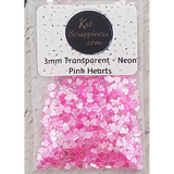 3mm Transparent Neon Pink Solid Heart Confetti - Sequins - Shaker Card Fillers - Kat Scrappiness