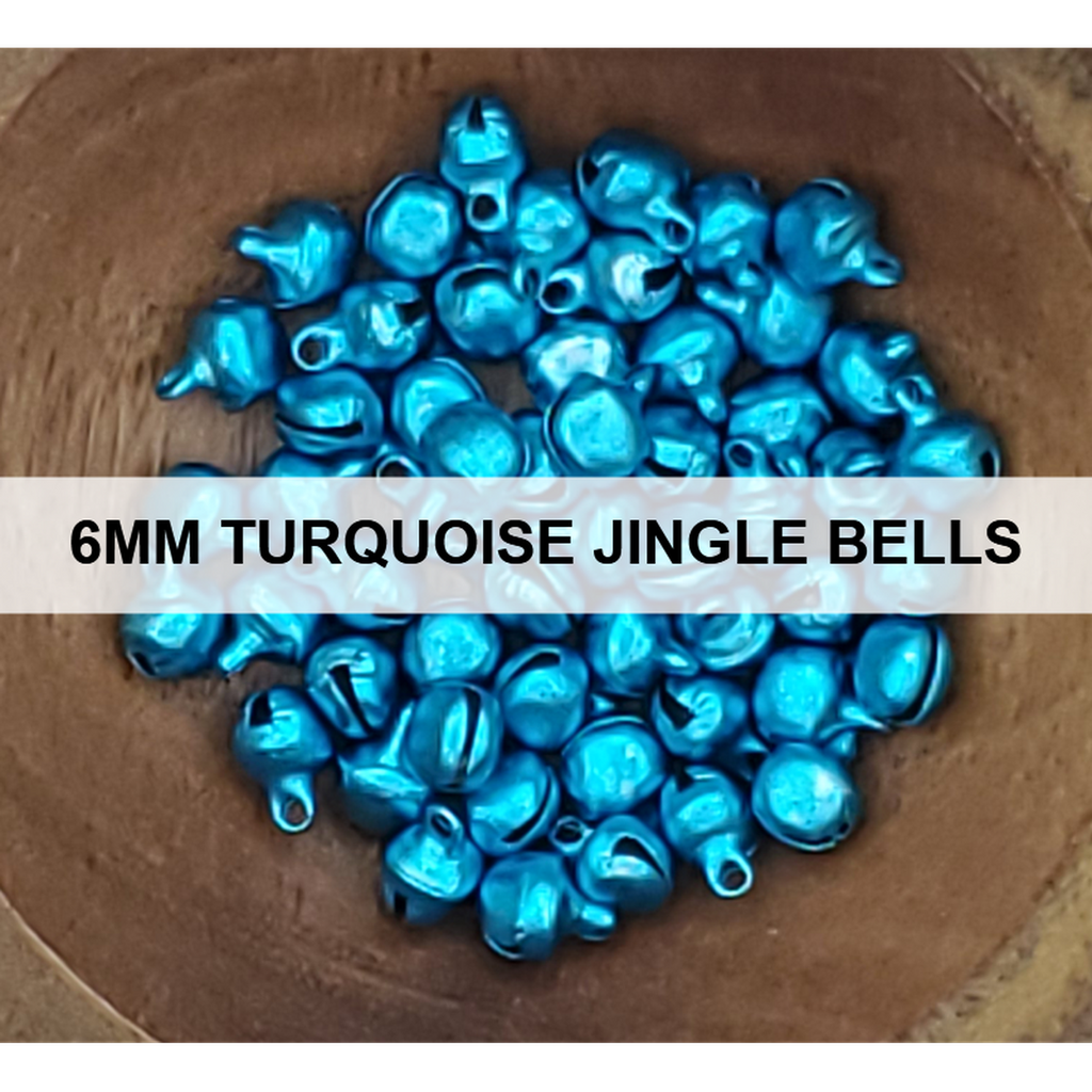 6mm Turquoise Jingle Bells - Kat Scrappiness