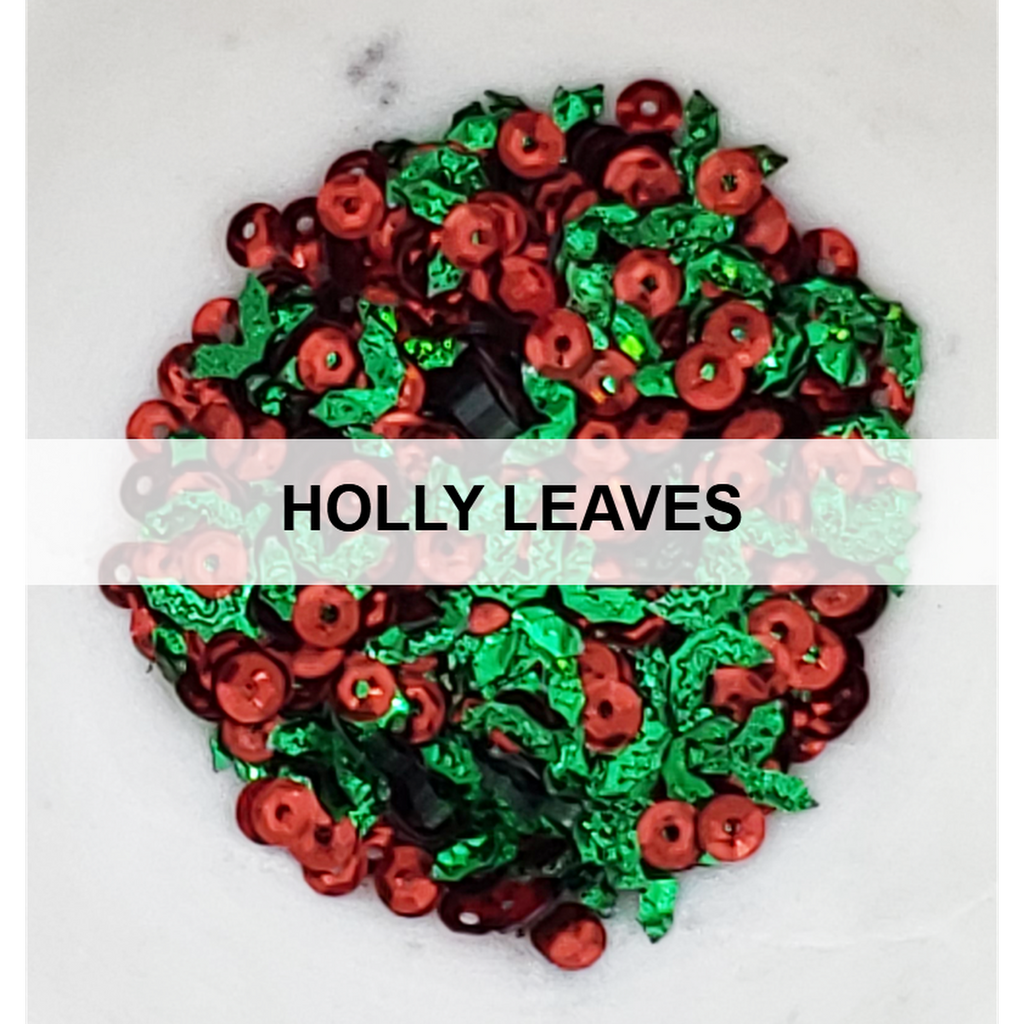 Holly Leaves Christmas Sequin Mix - Kat Scrappiness