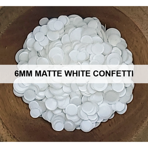 6mm Matte White Confetti Sequins - Kat Scrappiness