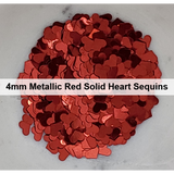 4mm Metallic Red Solid Heart Sequins - Kat Scrappiness