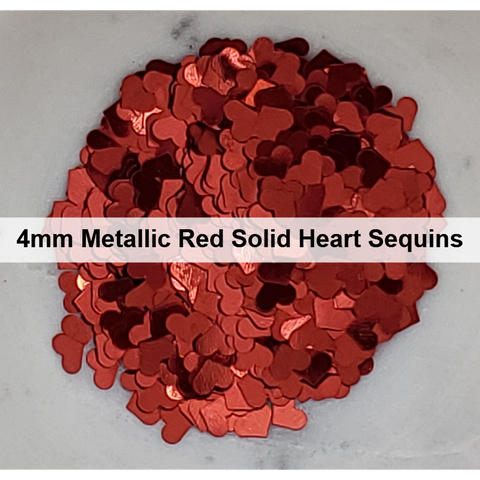 4mm Metallic Red Solid Heart Sequins