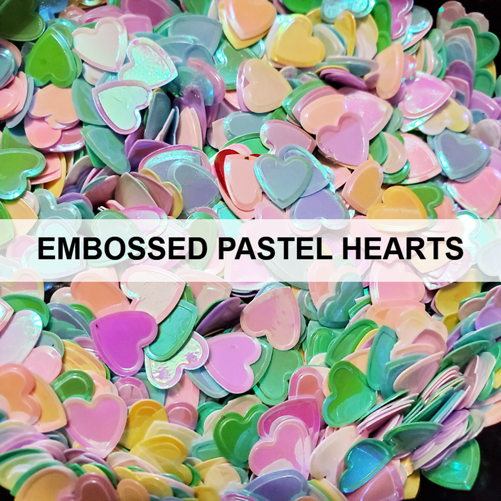 Embossed Pastel Hearts Sequins - Kat Scrappiness