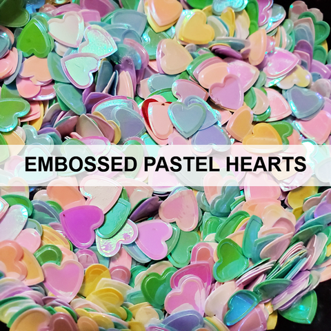 Embossed Pastel Hearts Sequins