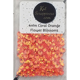 4mm Coral Orange Flower Blossoms - Sequins - Kat Scrappiness