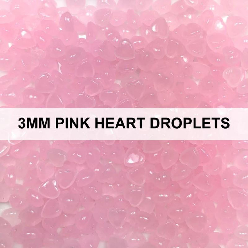 3mm Pink Heart Droplets