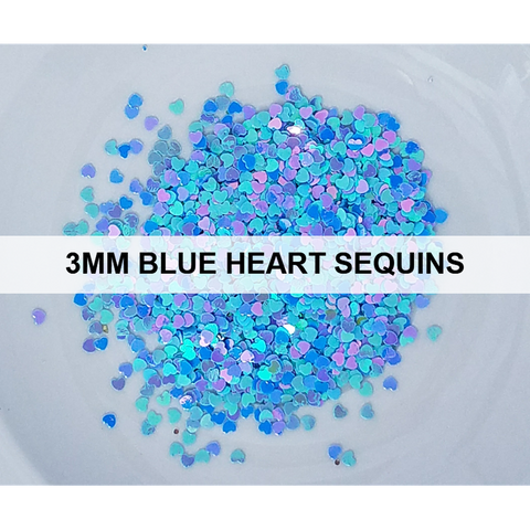 3mm Blue Heart Sequins