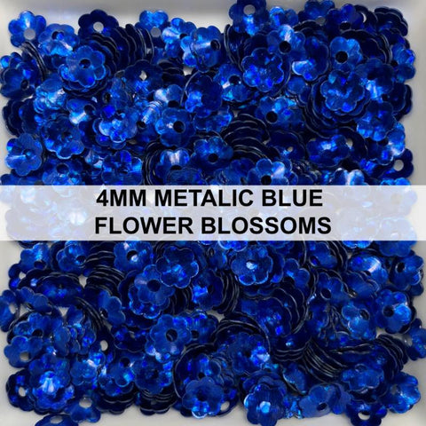4mm Metallic Blue Flower Blossom Sequins